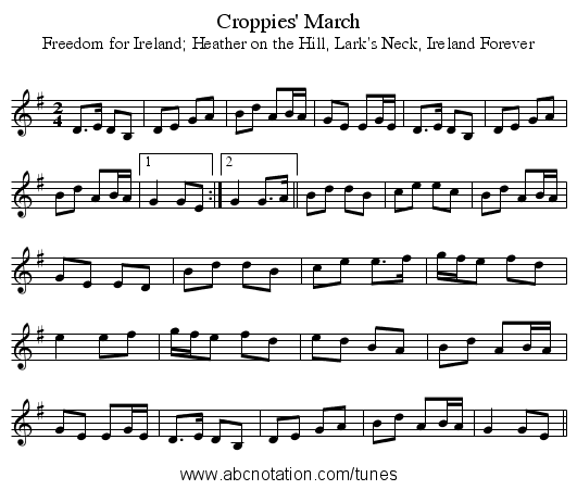 Croppies' March - staff notation