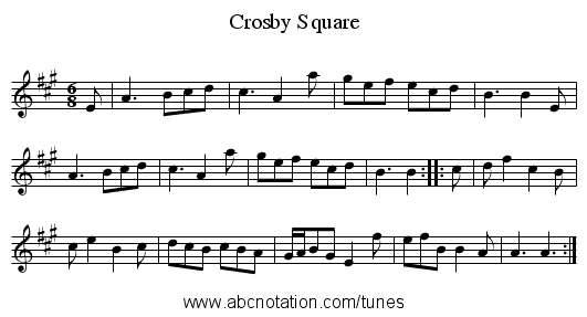 Crosby Square - staff notation