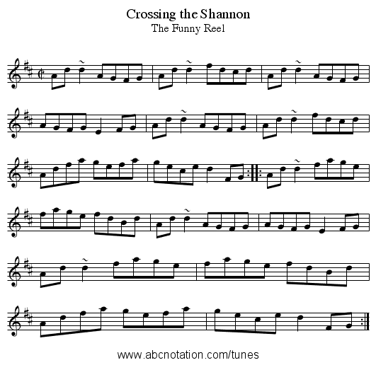 Crossing the Shannon - staff notation