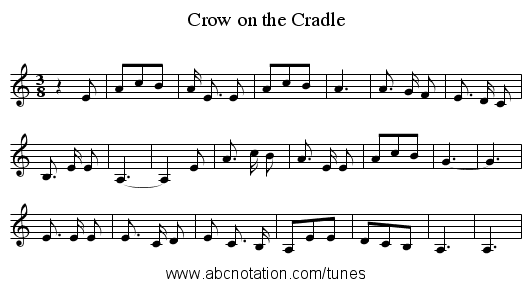 Crow on the Cradle - staff notation