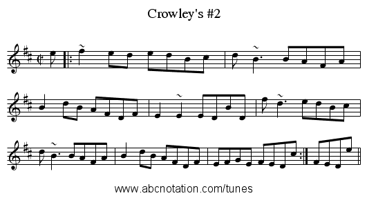 Crowley's #2 - staff notation