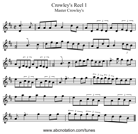 Crowley's Reel 1 - staff notation