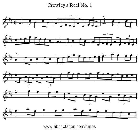 Crowley's Reel No. 1 - staff notation