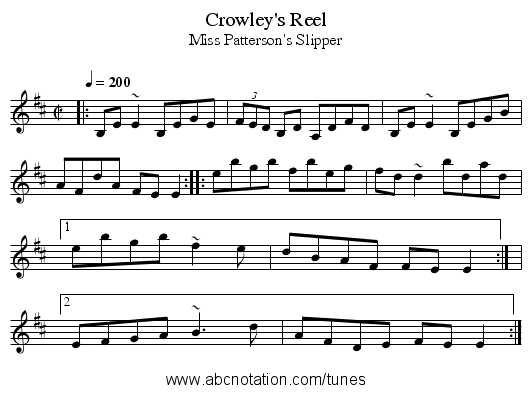 Crowley's Reel - staff notation