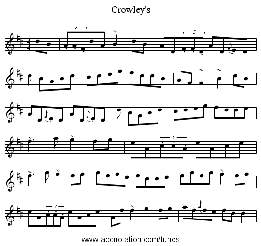 Crowley's - staff notation