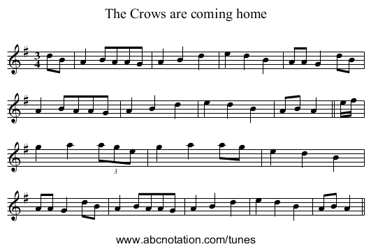 Crows are coming home, The - staff notation