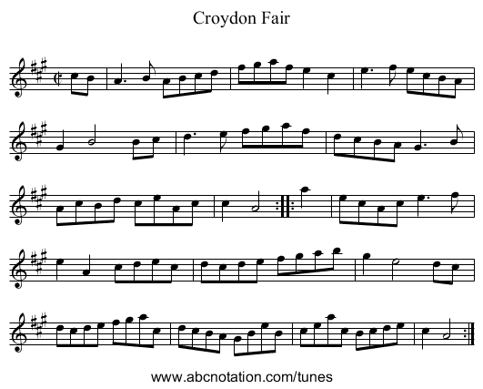 Croydon Fair - staff notation