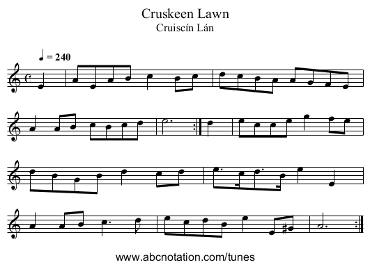 Cruskeen Lawn - staff notation