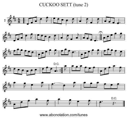 CUCKOO SETT (tune 2) - staff notation