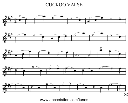 CUCKOO VALSE - staff notation