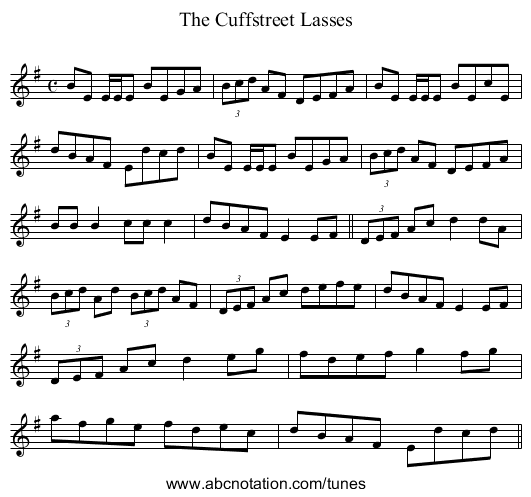 Cuffstreet Lasses, The - staff notation