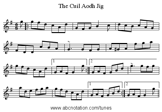 Cuil Aodh Jig, The - staff notation
