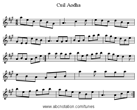 Cuil Aodha - staff notation