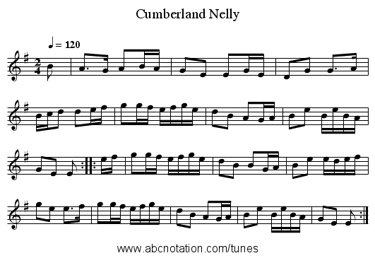 Cumberland Nelly - staff notation