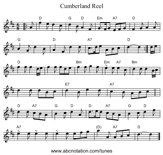 Cumberland Reel - staff notation
