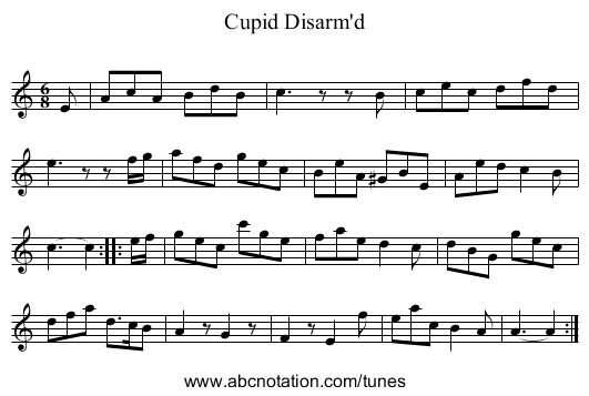 Cupid Disarm'd - staff notation