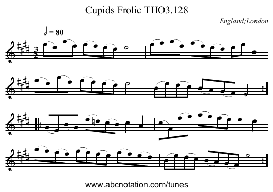 Cupids Frolic THO3.128 - staff notation