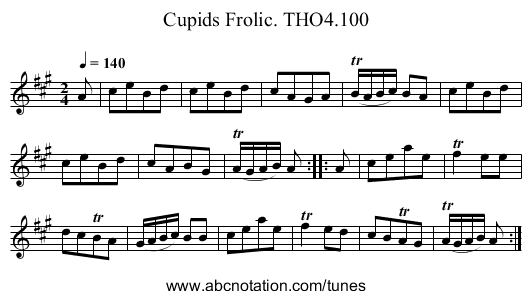 Cupids Frolic. THO4.100 - staff notation
