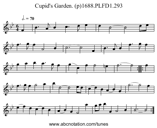 Cupid's Garden. (p)1688.PLFD1.293 - staff notation