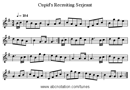 Cupid's Recruiting Serjeant - staff notation