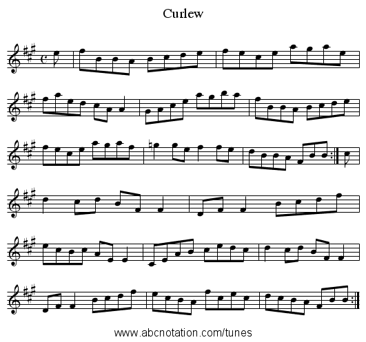 Curlew - staff notation