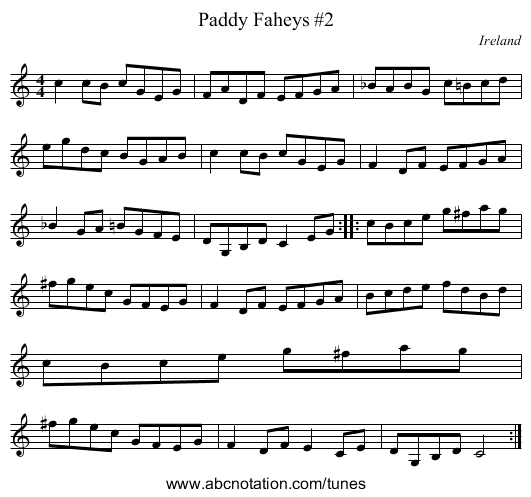 Curly Headed Ploughboy (Old Twanger), The - staff notation