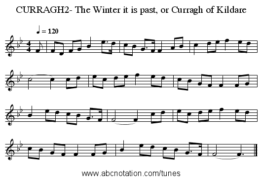 CURRAGH2- The Winter it is past, or Curragh of Kildare - staff notation