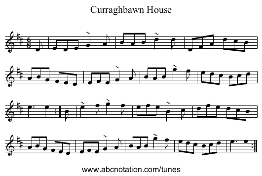 Curraghbawn House - staff notation