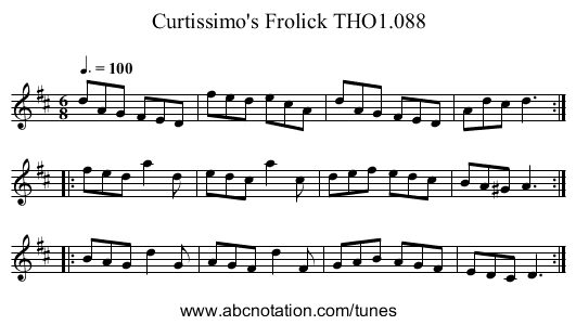 Curtissimo's Frolick THO1.088 - staff notation