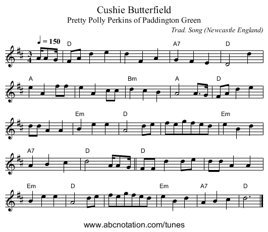 Cushie Butterfield - staff notation