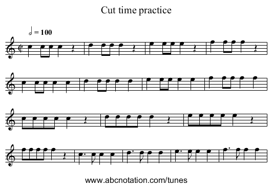 Cut time practice - staff notation