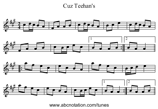 Cuz Teehan's - staff notation