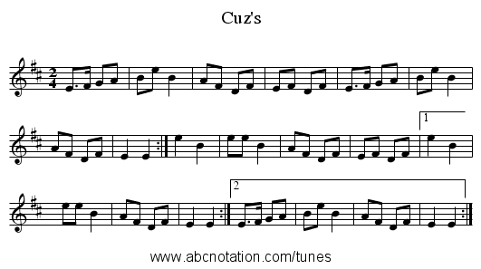 Cuz's - staff notation