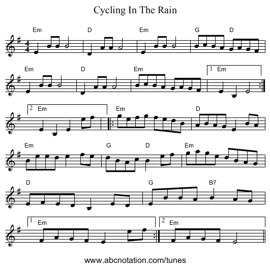 Cycling In The Rain - staff notation