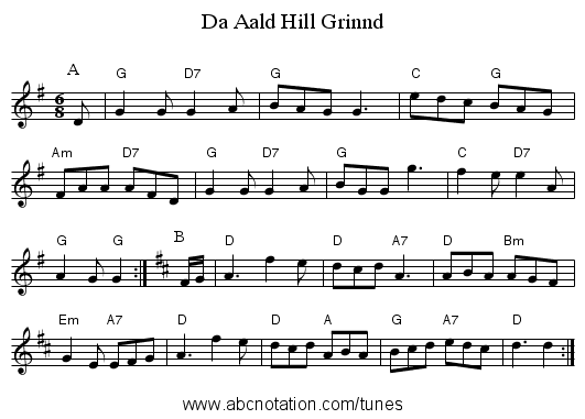 Da Aald Hill Grinnd - staff notation