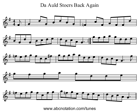 Da Auld Stoers Back Again - staff notation