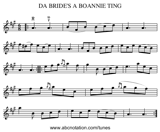 DA BRIDE'S A BOANNIE TING - staff notation