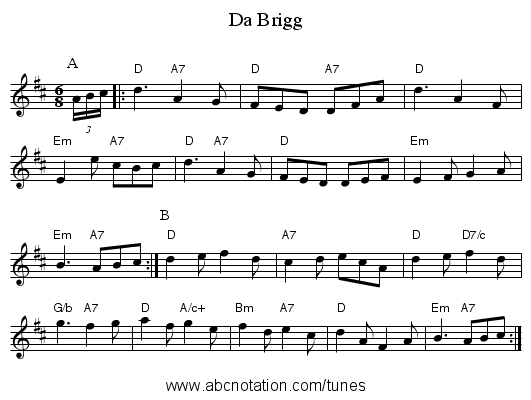 Da Brigg - staff notation