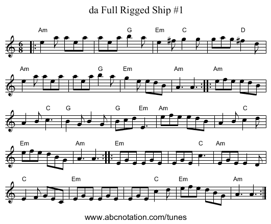da Full Rigged Ship #1 - staff notation