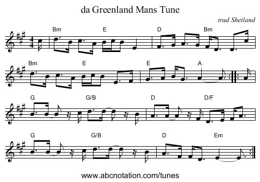 da Greenland Mans Tune - staff notation