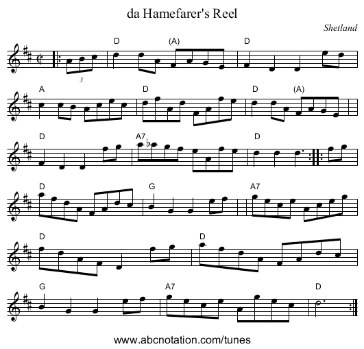 da Hamefarer's Reel - staff notation