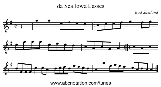 da Scallowa Lasses - staff notation