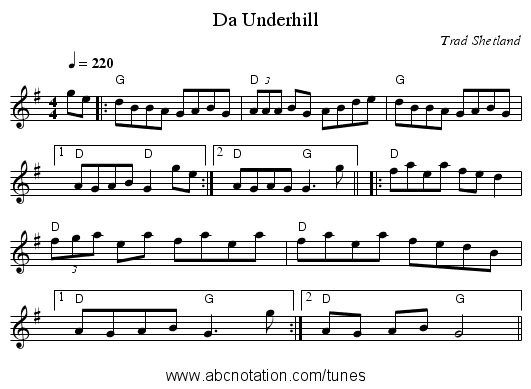 Da Underhill - staff notation