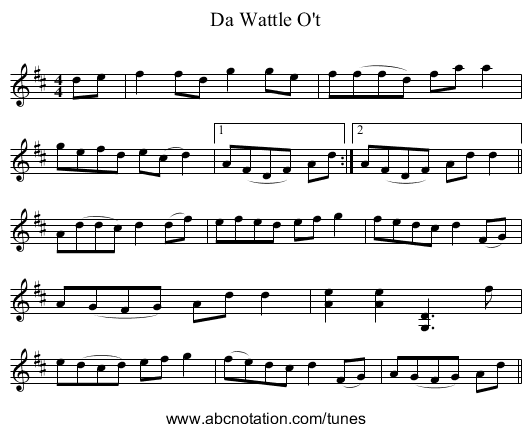Da Wattle O't - staff notation