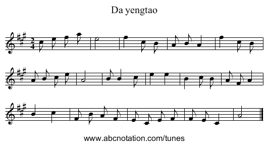 Da yengtao - staff notation