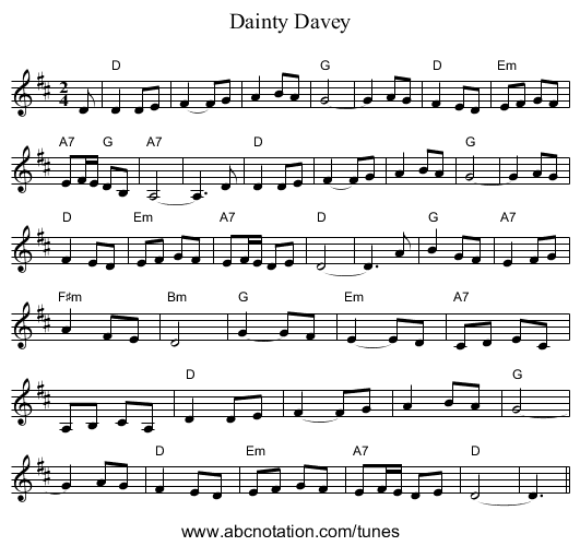 Dainty Davey - staff notation