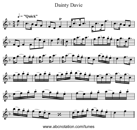 Dainty Davie - staff notation