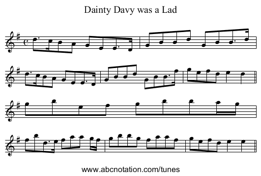 Dainty Davy was a Lad - staff notation