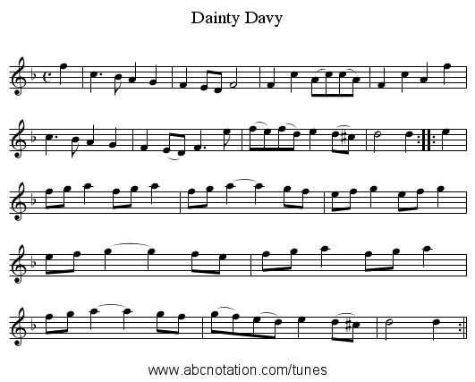 Dainty Davy - staff notation