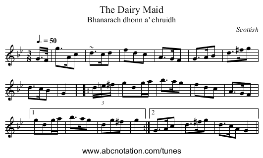 Dairy Maid, The - staff notation